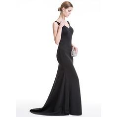 Раструб/Платье-русалка V-образный Sweep/Щетка поезд Jersey Вечерние Платье с блестки