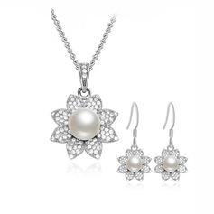 Bonito Prateado/Falso pérola Senhoras Conjuntos de jóias