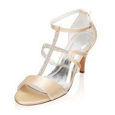 Kvinder silke lignende satin Stiletto Hæl Kigge Tå sandaler med Spænde Rhinsten
