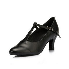 Женщины кожа На каблуках На каблуках Бальные танцы Обувь для Персонала с Т-ремешок Обувь для танцев