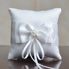 Einfache Ring Kissen in Leinen/Polyester mit Bogen