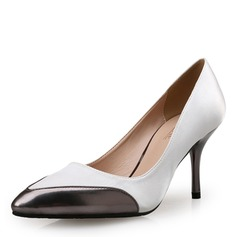 Women's Satin Leatherette Stiletto Heel Pumps Closed Toe With Split Joint shoes