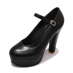 Frauen Kunstleder Stöckel Absatz Absatzschuhe Plateauschuh Geschlossene Zehe mit Schnalle Schuhe