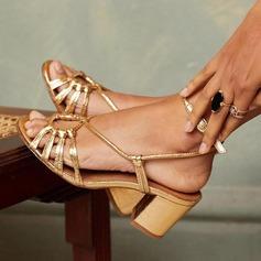 Frauen PU Stämmiger Absatz Sandalen mit Schnalle Schuhe