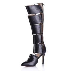 Cuero Botas a la Rodilla con Cremallera zapatos