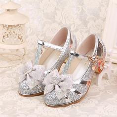 Mädchens Geschlossene Zehe Leder niedrige Ferse Absatzschuhe Blumenmädchen Schuhe mit Bowknot Schnalle Strass Funkelnde Glitzer