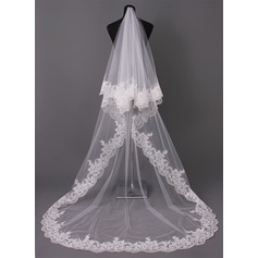 One-tier Lace Applique Edge Cathedral Bridal Veils With Applique (006005417)