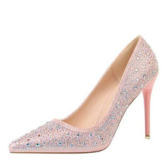 Women's Leatherette Stiletto Heel Pumps Closed Toe With Rhinestone shoes (085203363)