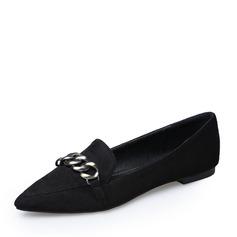 Femmes Suède Talon plat Chaussures plates Bout fermé avec Chaîne chaussures