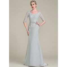 Trumpet/Mermaid Square Neckline Sweep Train Satin Lace Mother of the Bride Dress With Bow(s)
