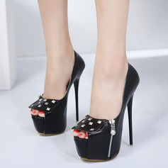 Women's PU Stiletto Heel Pumps Platform Peep Toe With Rivet Zipper shoes