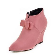 Frauen Veloursleder Keil Absatz Absatzschuhe Geschlossene Zehe Keile Stiefel Stiefelette mit Bowknot Reißverschluss Schuhe