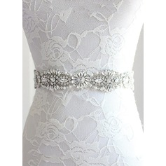 Elegant Ribbon Sash With Rhinestones/Imitation Pearls (015101418)