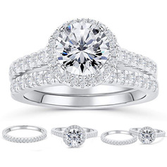 Sterling Silver Cubic Zirconia Halo Round Cut Bridal Sets (289224770)