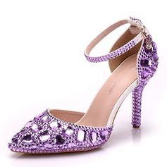 Kvinner Lær Stiletto Hæl Sandaler Pumps med Rhinestone sko