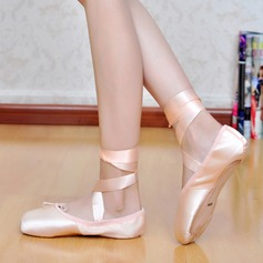 Women's Silk Flats Ballet Pointe Shoes With Lace-up Dance Shoes