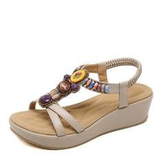 Женщины кожа Вид каблука Сандалии Танкетка Открытый мыс Босоножки с горный хрусталь развальцовка обувь