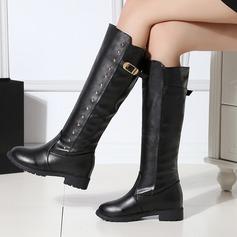 De mujer PU Tacón bajo Botas Botas a la rodilla con Rivet Hebilla zapatos