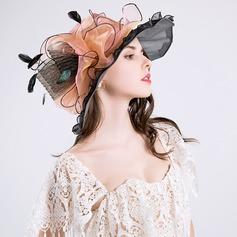 Señoras' Hermoso Algodón/Hilado de la red con Flores de seda Disquete Sombrero