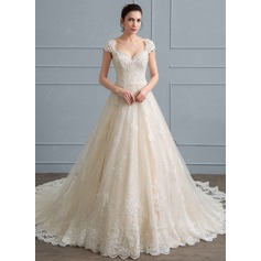Ball-Gown Sweetheart Cathedral Train Tulle Lace Wedding Dress With Beading Sequins