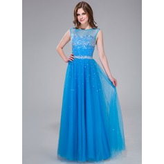 Vestidos princesa/ Formato A Decote redondo Longos Tule Vestido de baile com Bordado Lantejoulas
