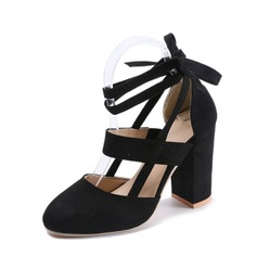 Women's Suede Chunky Heel Pumps Closed Toe With Lace-up shoes (085150503)