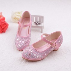 Girl's Leatherette Flat Heel Round Toe Flats With Rhinestone Velcro