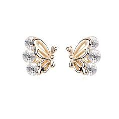 Butterfly Shaped Alloy/Crystal Ladies' Earrings
