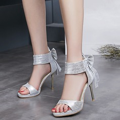 Women's Leatherette Stiletto Heel Sandals Beach Wedding Shoes With Bowknot Zipper