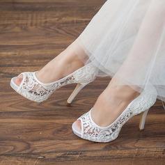 Kvinder Blonder Stiletto Hæl Kigge Tå Platform sandaler (047066876)