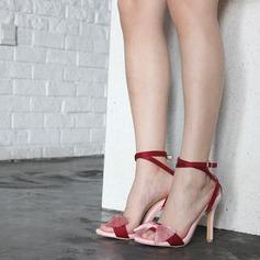 Kvinder Kunstlæder Stiletto Hæl sandaler Pumps Kigge Tå Mary Jane med Bowknot sko