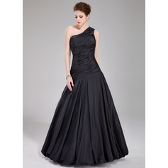 A-Line/Princess One-Shoulder Floor-Length Taffeta Prom Dress With Ruffle
