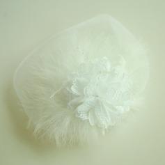 Dame Smukke Netto garn/Fjer/Silke Blomst Panden Smykker