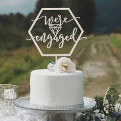 We are Engaged Acrylic/Wood Cake Topper