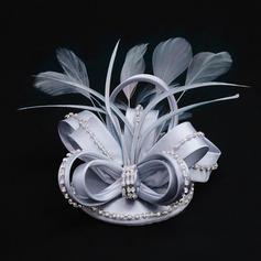 Señoras' Moda Tejido con Pluma/Rhinestone Disquete Sombrero/Sombreros Tea Party