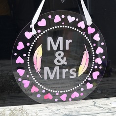 "Classic/Lovely/""Mr. & Mrs."" Round Acrylic"