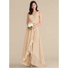 A-Line V-neck Asymmetrical Chiffon Bridesmaid Dress (007153327)