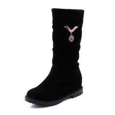 Women's Suede Low Heel Closed Toe Boots With Buckle shoes