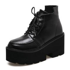 Kvinner Lær Kile Hæl Lukket Tå Støvler Ankelstøvler med Blondér sko