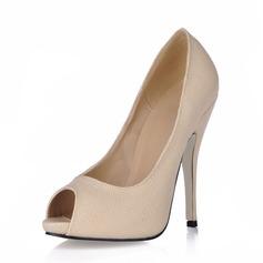 Leatherette Stiletto Heel Sandals Peep Toe shoes