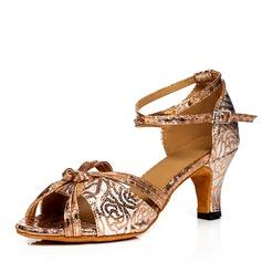 Femmes Tissu Talons Sandales Latin avec Lanière de cheville Chaussures de danse
