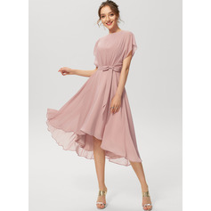 A-Line Scoop Neck Asymmetrical Chiffon Cocktail Dress With Ruffle Bow(s) (016230188)