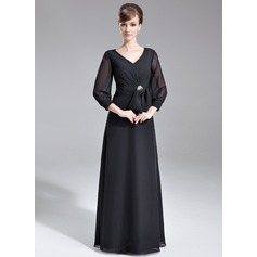 A-Line/Princess V-neck Floor-Length Chiffon Mother of the Bride Dress With Ruffle Crystal Brooch Bow(s)