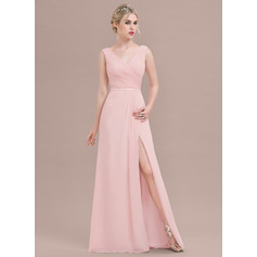 A-Line/Princess V-neck Floor-Length Chiffon Bridesmaid Dress With Ruffle Split Front (007116642)