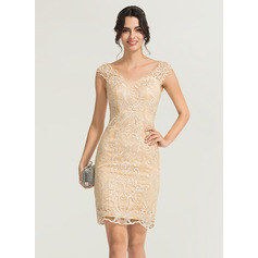 Sheath/Column V-neck Knee-Length Lace Cocktail Dress (016170855)