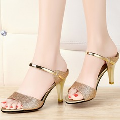 Women's Sparkling Glitter Stiletto Heel Peep Toe Sandals Slingbacks