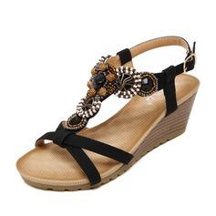 Женщины кожа Вид каблука Сандалии Танкетка Открытый мыс Босоножки с горный хрусталь обувь