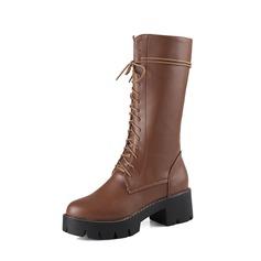 De mujer Cuero Tacón bajo Salón Plataforma Botas longitud media con Cordones zapatos