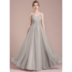 A-Line/Princess Floor-Length Tulle Prom Dress With Ruffle Beading (018116382)