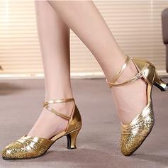 Femmes Similicuir Pailletes scintillantes Talons Sandales Latin Salle de bal avec Ouvertes Chaussures de danse